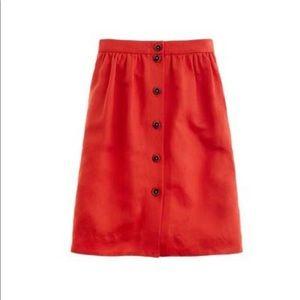J Crew Button Front Skirt Orange Twill Linen 0